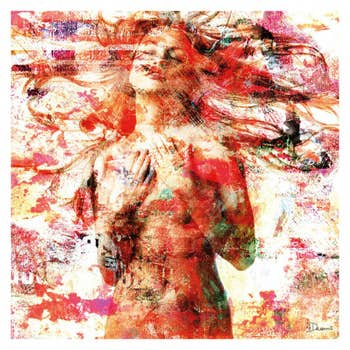 Girl on White and Red AluArt