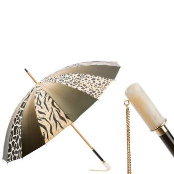Gold Animalier Print Luxury Umbrella