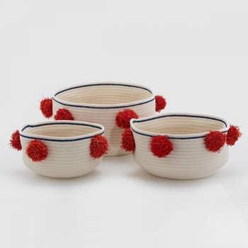 Red Pompon Basket Set of 3