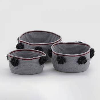 Pompon Basket Set of 3