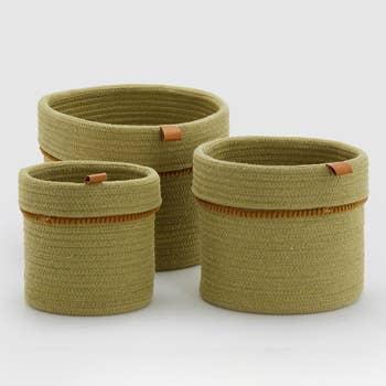 Green Basket Set of 3