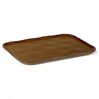 Plate Rectangular Merci Brown