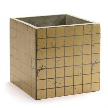 Marie Gold Cube Mosaic Pot