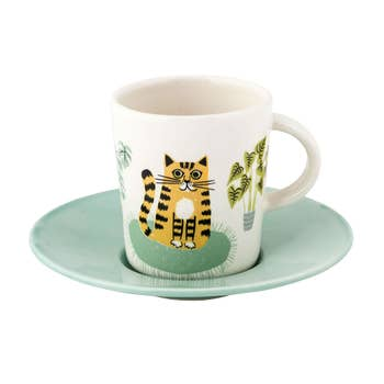 Cat Espresso Cup With Saucer
