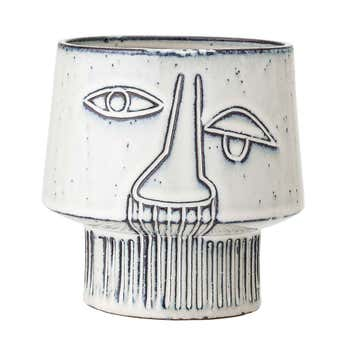 Stoneware Flower Pot Grey
