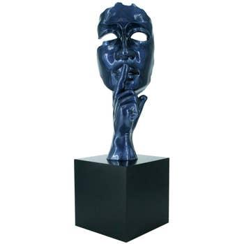 Silence Face Sculpture Blue