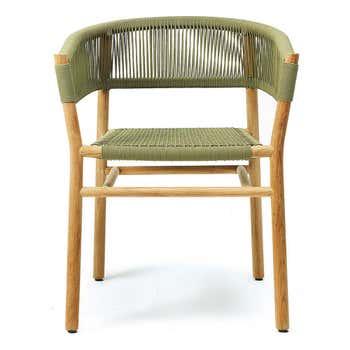 Kilt Dining Armchair in Teak - Green, Dining Armchair + Rain Cover