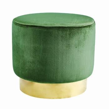 Roma Velvet Pouffe Green