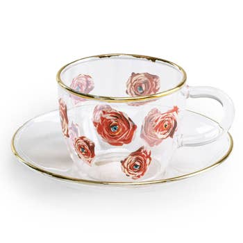 Roses Glass Espresso Cup