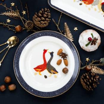 Geese Christmas Cake Plates