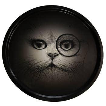 Cat Monocle Black Tray