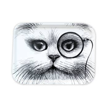 Small White Cat Monocle Tray