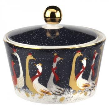 Geese Christmas Lidded Bowl