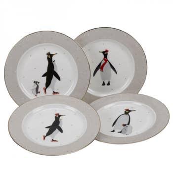 Penguin Christmas Cake Plates