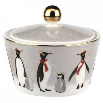 Penguin Christmas Lidded Bowl