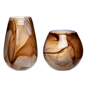 Brown Glass Vases Set of 2