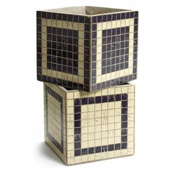 Marie Black Mosaic Pot Set/2