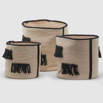 Natural Fringe Basket Set of 3