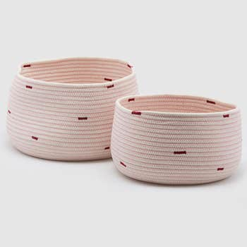 Pale Pink Basket Set of 2