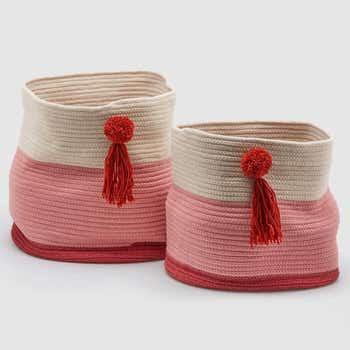 Pink Pompom Basket Set of 2