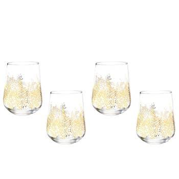Gold Stemless Wine Glass Set/4