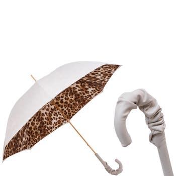 Leather Handle Leopard Print Umbrella