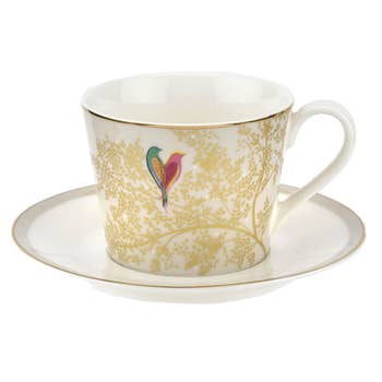 Pale Grey Lovebird Tea Cup