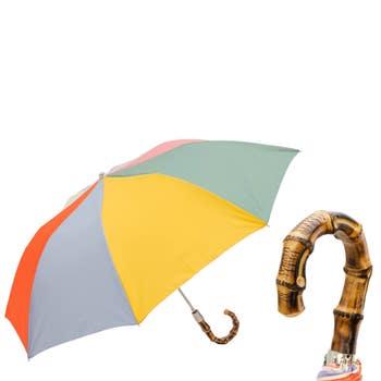 Bamboo Handle Rainbow Umbrella