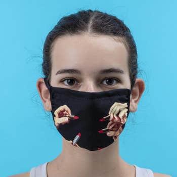 Lipsticks Face Mask Black