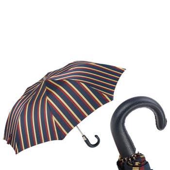 Leather Handle Striped Folding Umbrella