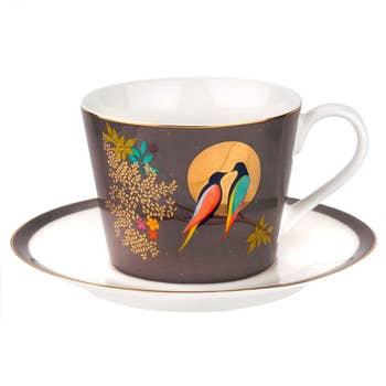 Birds In Moon Tea Cup