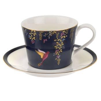 Navy Hummingbird Tea Cup