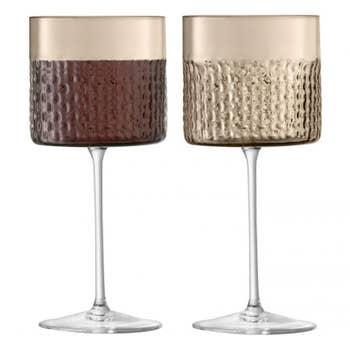 Wicker Wine Glass Taupe x 2